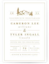 This is a yellow wedding invitation by Amy Kross called Blue Ridge with standard printing on signature in standard.