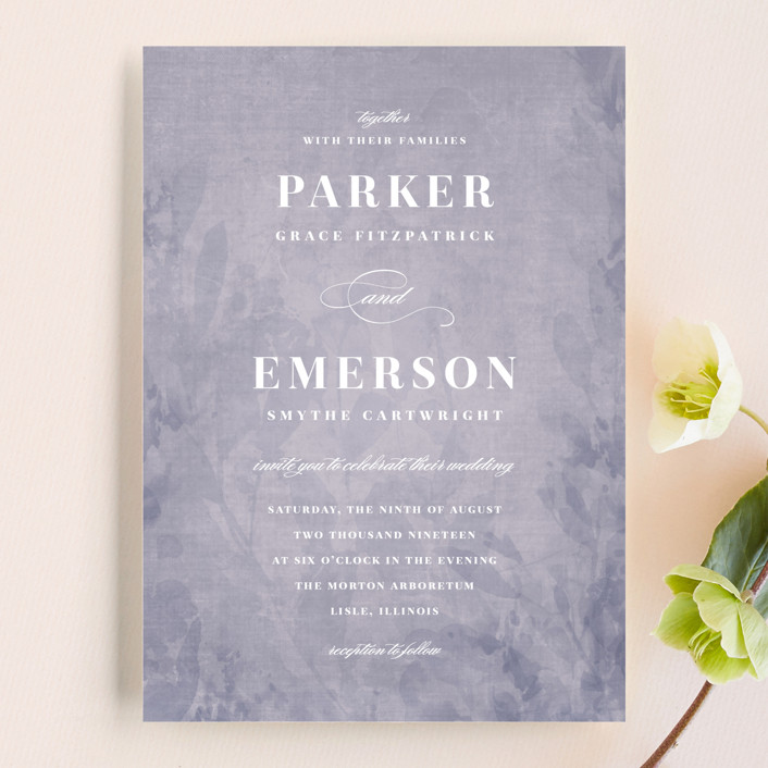 """subtle silhouette"" - Floral & Botanical, Floral & Botanical Wedding Invitations in Smokey Lilac by Angela Marzuki."