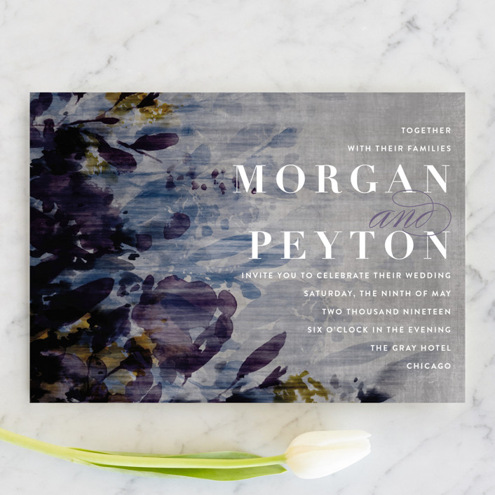 """velvet burnout floral"" - Wedding Invitations in Amethyst by Angela Marzuki."