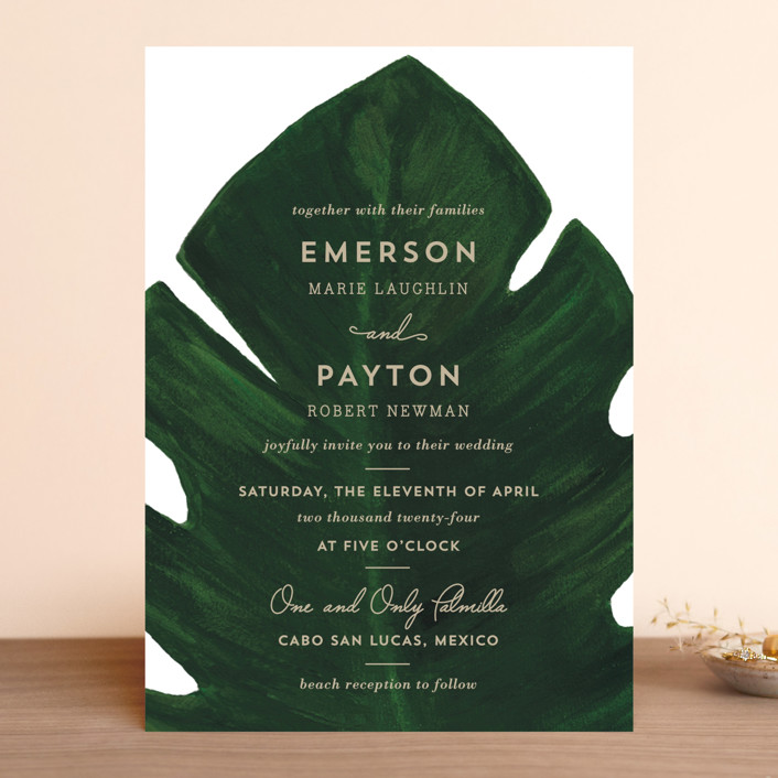 """Palm"" - Wedding Invitations in Classic Palm by Kaydi Bishop."