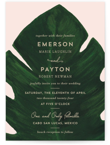 This is a portrait green, pink Wedding Invitations by Kaydi Bishop called Palm with Standard printing on Signature in Classic Flat Card format. A chic hand painted acrylic palm leaf contrasts the invitation wording on this beach or destination style ...