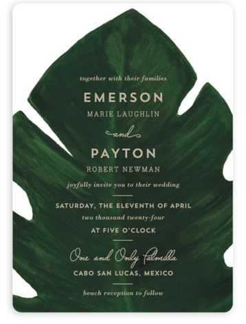This is a green wedding invitation by Kaydi Bishop called Palm with standard printing on signature in standard.