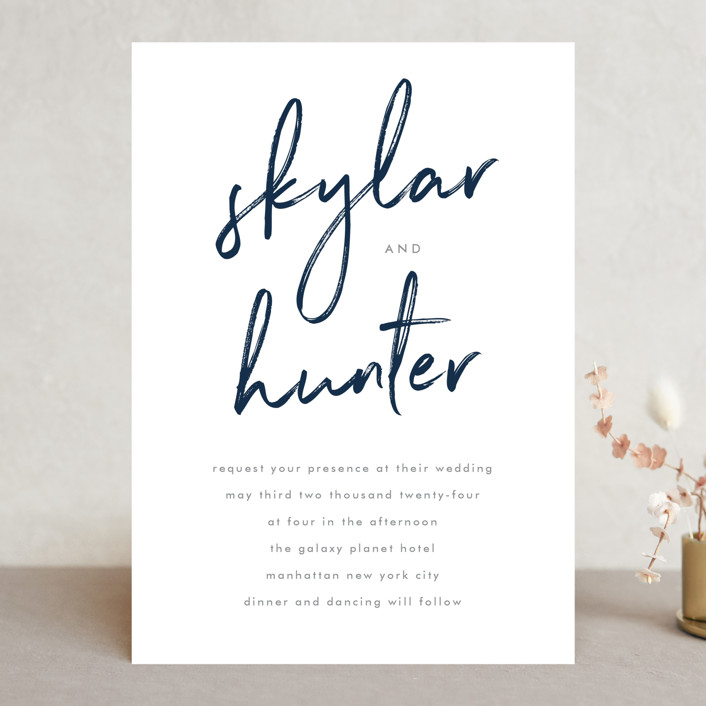 Funky Names Wedding Invitations In Navy By Phrosne
