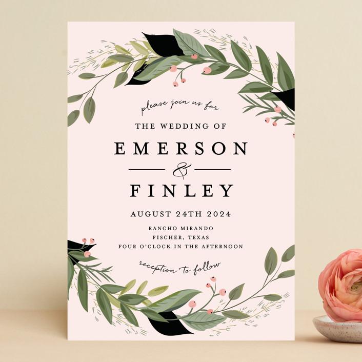 """Vines of Green"" - Wedding Invitations in Fern by Susan Moyal."