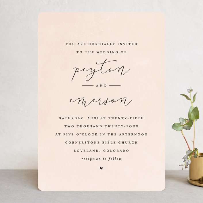 """Simply Perfect"" - Wedding Invitations in Blush by peony papeterie."