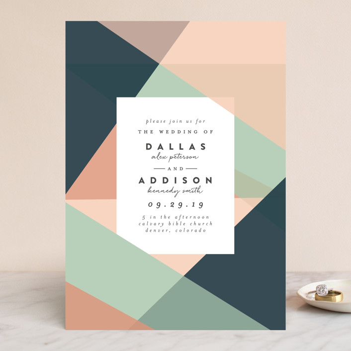 simply abstract wedding invitations by peony papeterie minted
