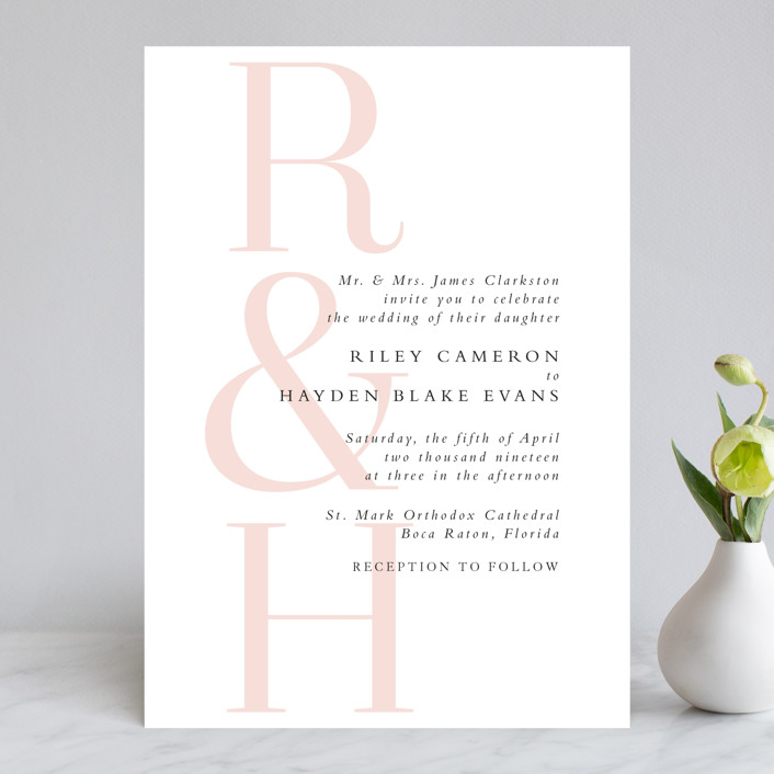"""over and over"" - Wedding Invitations in Soft Peach by Lea Delaveris."