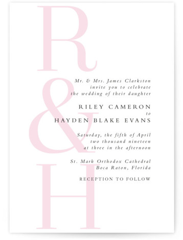 This is a portrait pink Wedding Invitations by Lea Delaveris called over and over with Standard printing on Signature in Classic Flat Card format. This simple yet elegant design is type driven, featuring the bride's and groom's initials and an ...