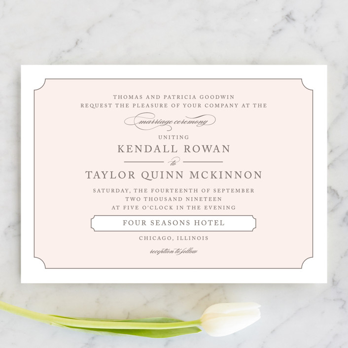 """""""Subtly Sweet"""" - Wedding Invitations in Pale Pink by Kimberly FitzSimons."""