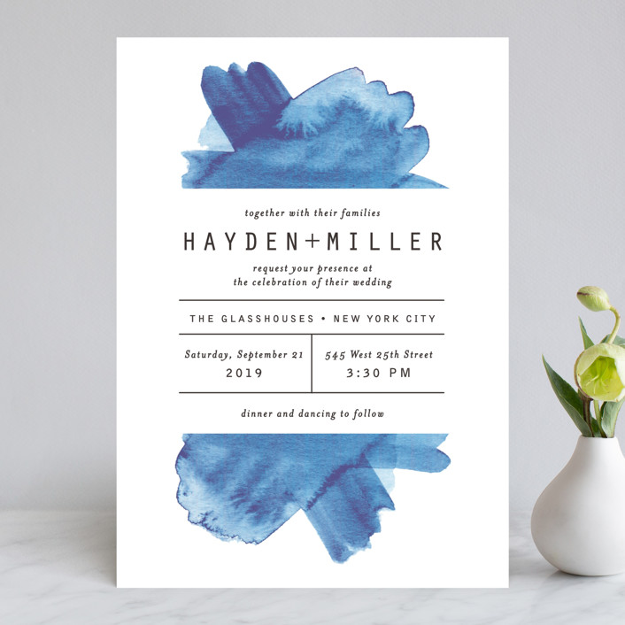 """Modern Water"" - Wedding Invitations in Celestial by Olivia Raufman."