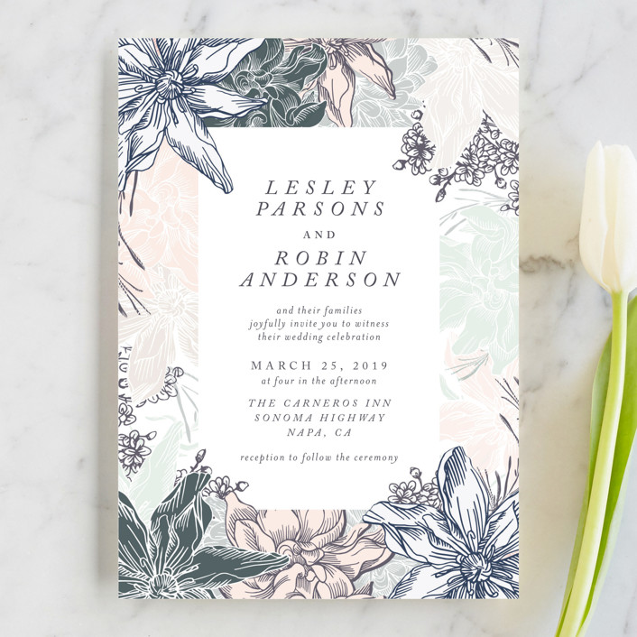 """hand drawn garden"" - Wedding Invitations in Navy by Phrosne Ras."