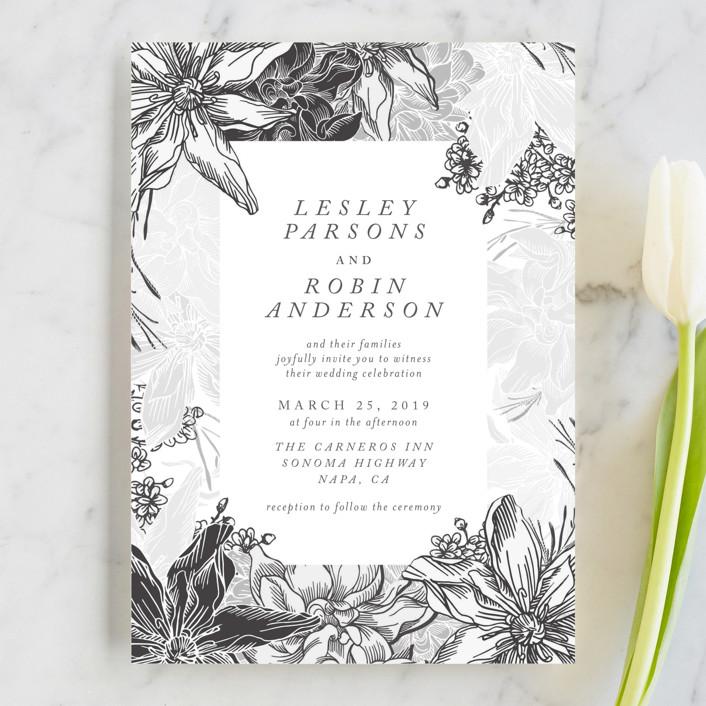 """hand drawn garden"" - Wedding Invitations in Navy by Phrosne Ras."