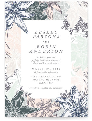 hand drawn garden Wedding Invitations