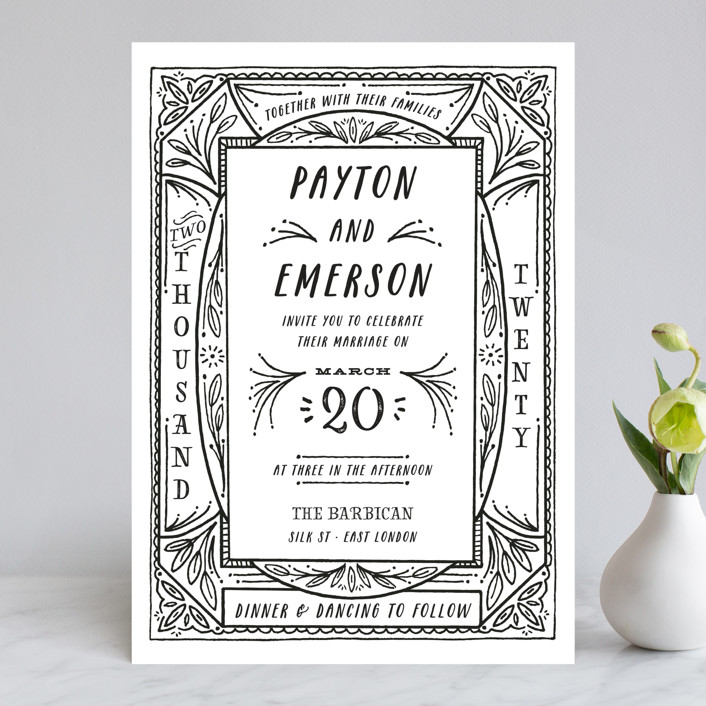 """""""Ink Detailing Frame"""" - Wedding Invitations in Ink by Shiny Penny Studio."""
