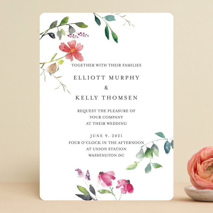 """""""Spring Wildflowers"""" - Wedding Invitations in Floral by Mere Paper."""
