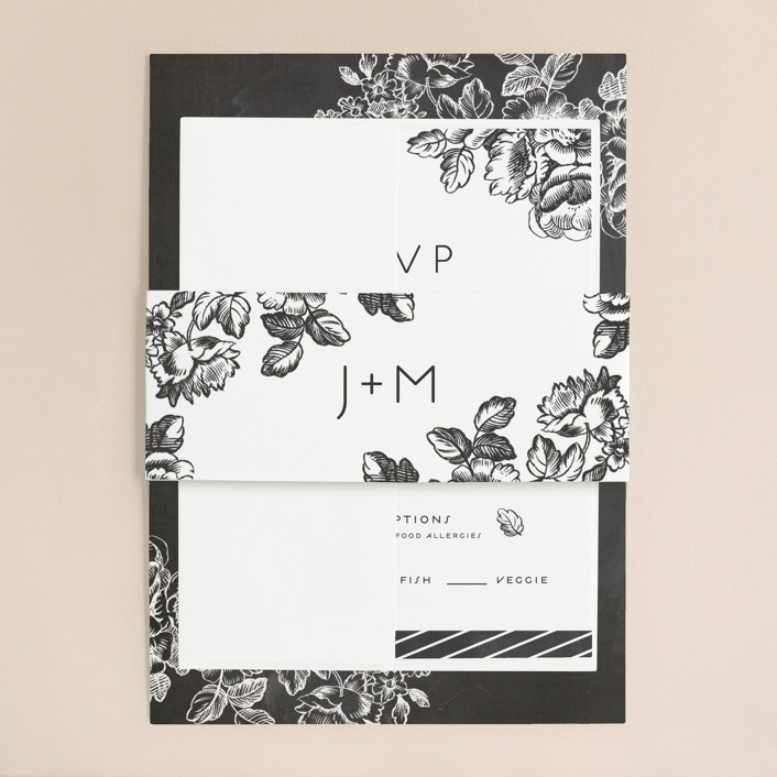 Chalkboard Flora Wedding Invitations By Snow And Ivy