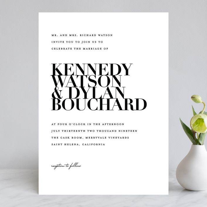 """The Minimalist"" - Wedding Invitations in Pearl by Kelly Schmidt."