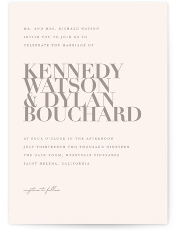 This is a portrait grey Wedding Invitations by Kelly Schmidt called The Minimalist with Standard printing on Signature in Classic Flat Card format. A clean and classic black and white design featuring bold typography for the couple's names