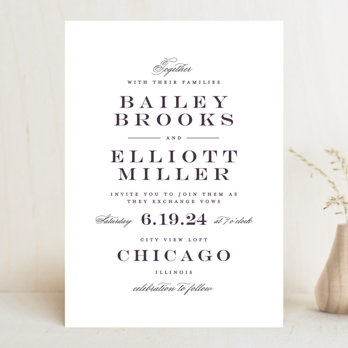 """Downtown"" - Wedding Invitations in Onyx by Lauren Chism."