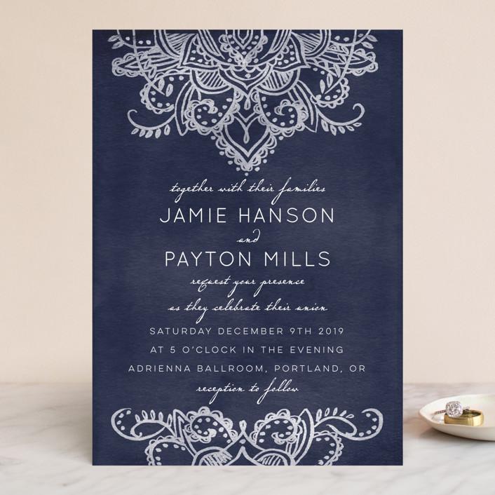 """""""Indigo Lace"""" - Vintage Wedding Invitations in Cobalt by Krista Messer."""