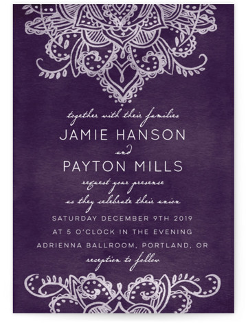 This is a portrait vintage, purple Wedding Invitations by Krista Messer called Indigo Lace with Standard printing on Signature in Classic Flat Card format. This lovely wedding invitation is elegant and spirited. It incorporates hand drawn patterning, inspired by Mehndi ...