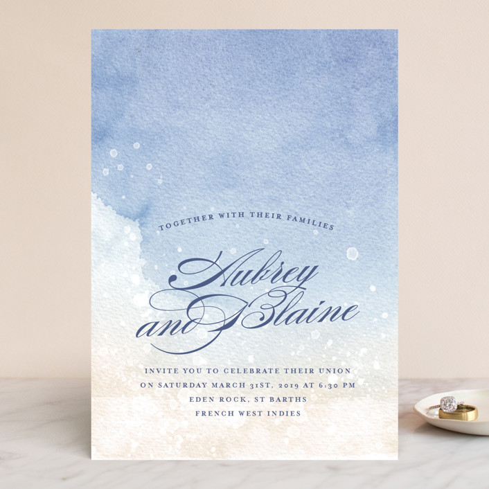 """Beachy"" - Bohemian, Beach Wedding Invitations in Ocean by Rebecca Daublin."