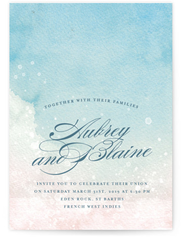 This is a portrait beach, bohemian, blue Wedding Invitations by Rebecca Daublin called Beachy with Standard printing on Signature in Classic Flat Card format. A carefree watercolor painting inspires visions of sand and waves in this beach inspired wedding invitation. ...