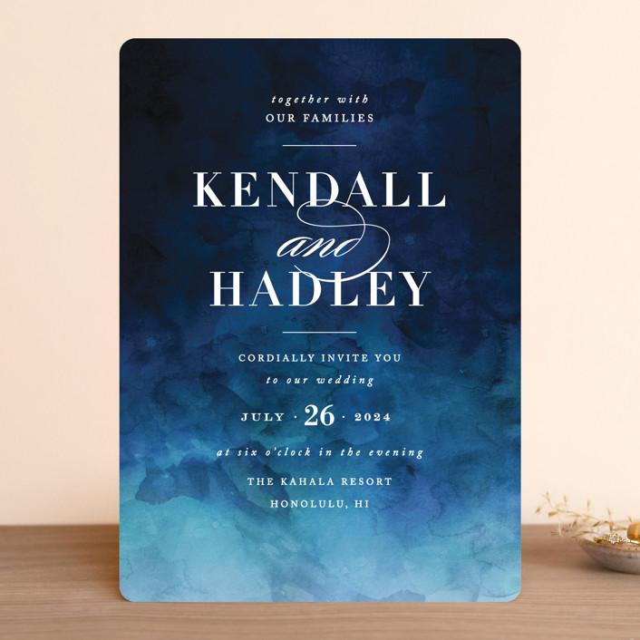 """""""Indigo Sea"""" - Wedding Invitations in Ocean by Kelly Schmidt."""