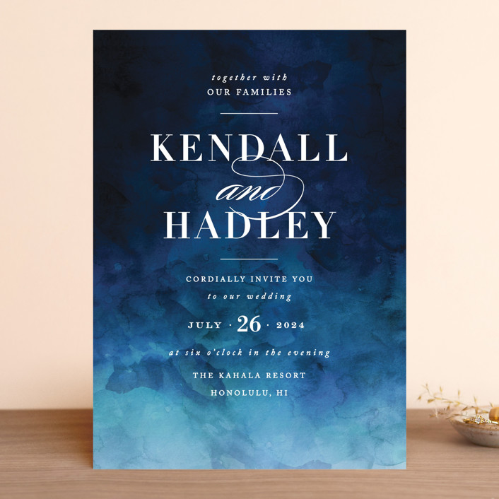 """Indigo Sea"" - Wedding Invitations in Ocean by Kelly Schmidt."