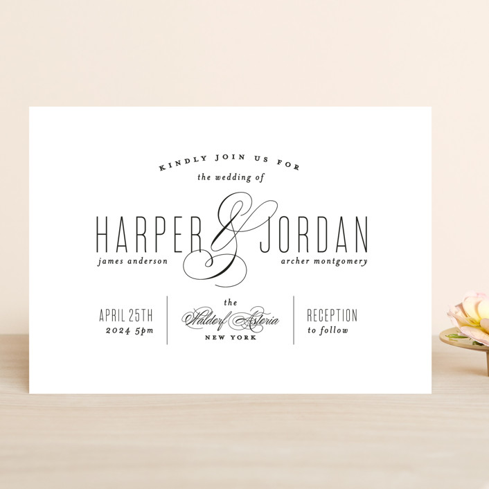 """Scripted Ampersand"" - Wedding Invitations in Midnight by Roxy Cervantes."