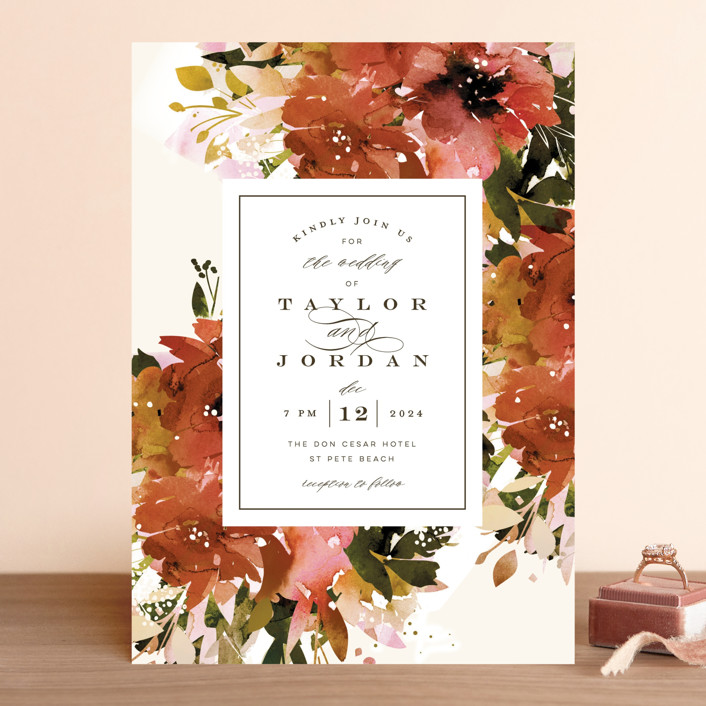 """Eden"" - Wedding Invitations in Poinsettia by Lori Wemple."