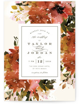 This is a red wedding invitation by Lori Wemple called Eden with standard printing on signature in standard.