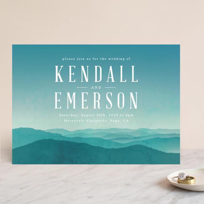 mountain range wedding invitations by schmidt minted