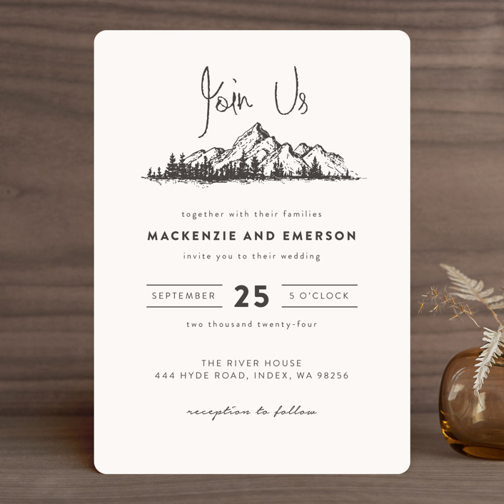 """Mountains"" - Wedding Invitations in Ivory by Anastasia Makarova."