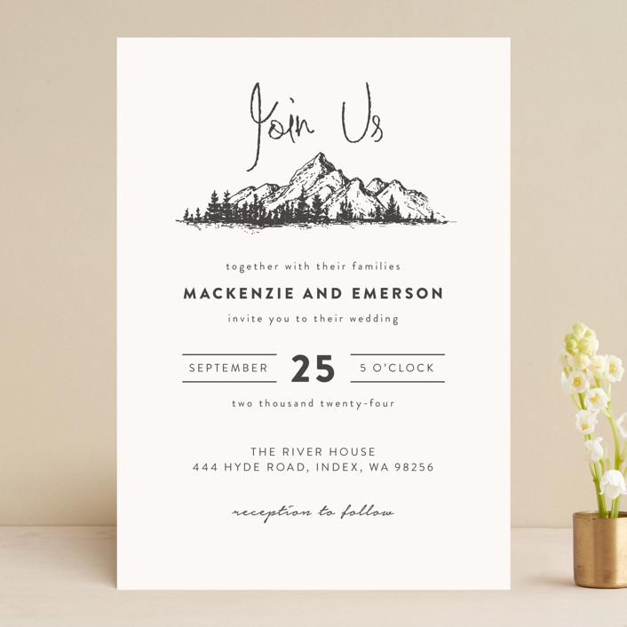 """Mountains"" - Wedding Invitations in Ivory by Anastasia Makarova."