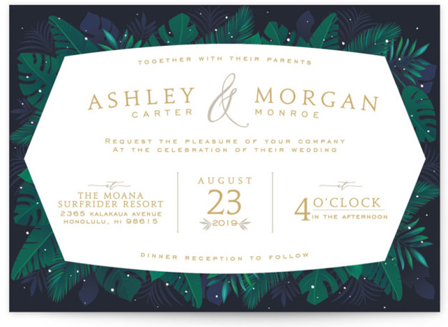 This is a blue wedding invitation by GeekInk Design called Paradise with standard printing on signature in standard.