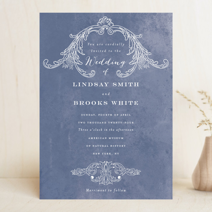 """Ornate"" - Vintage Wedding Invitations in Indigo by Nazia Hyder."