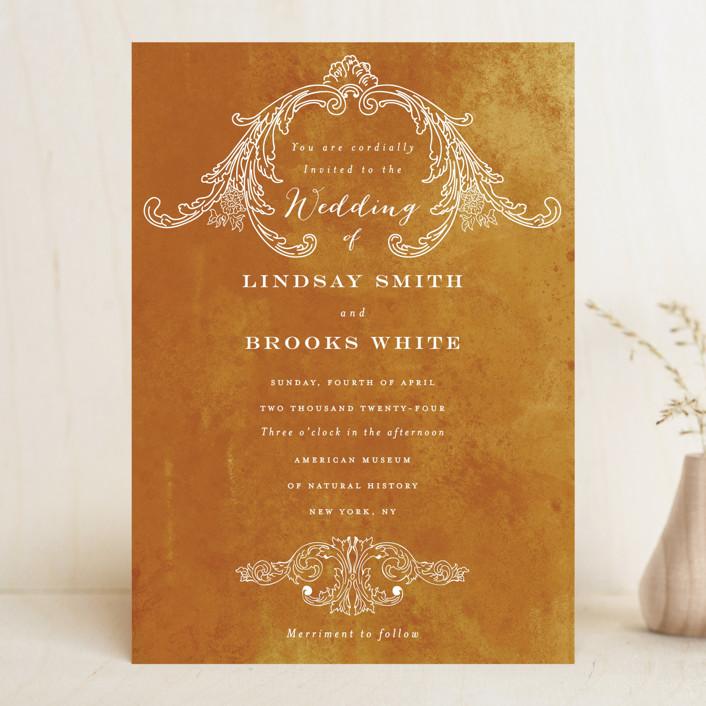 """Ornate"" - Vintage Wedding Invitations in Indigo by Nazia Hyder."