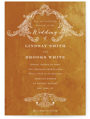 This is a portrait vintage, orange Wedding Invitations by Nazia Hyder called Ornate with Standard printing on Signature in Classic Flat Card format. Ornate florals accentuate simple and elegant typography in this timeless piece.