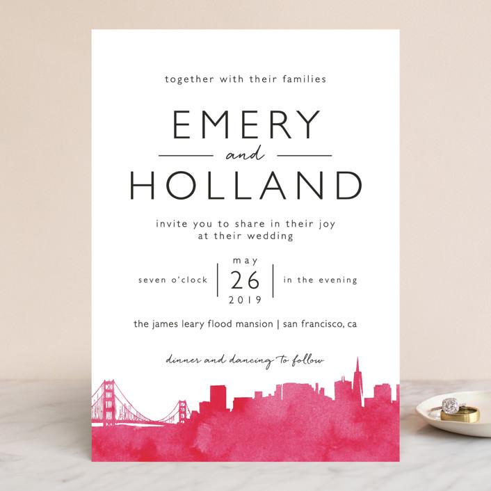 """""""Skyline San Francisco"""" - Wedding Invitations in Magenta by Laura Condouris."""