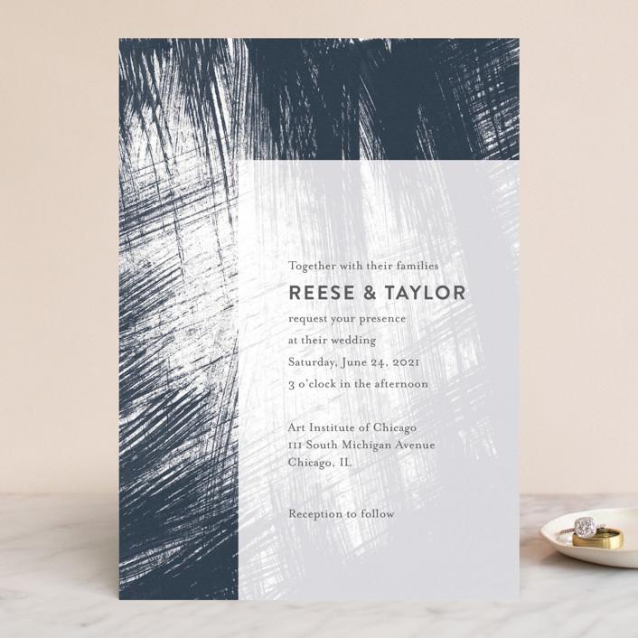 """Modern Brush"" - Modern Wedding Invitations in Steel Blue by Lisa Tamura Guerrero."