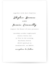 This is a black and white wedding invitation by Angela Garrick called Dressed in White with standard printing on signature in standard.