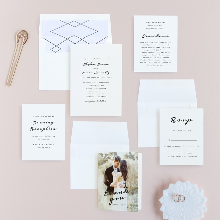 Dressed in white wedding invitations by angela garrick for Minted navy wedding invitations