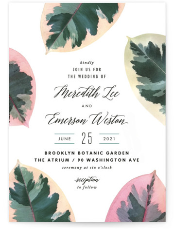 This is a portrait white, green, colorful Wedding Invitations by Hooray Creative called Painterly Plant with Standard printing on Signature in Classic Flat Card format. A bold, botanical design inspired by the photos I captured of rubber plant leaves with ...
