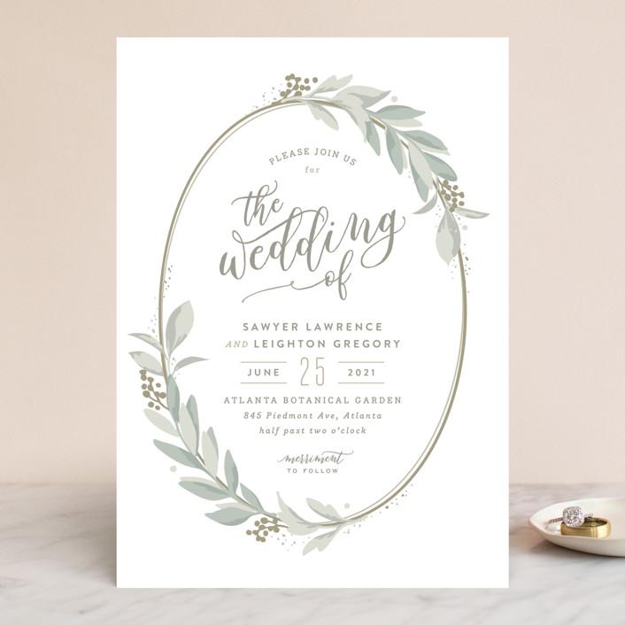 Modern wreath wedding invitations by hooray creative minted modern wreath wedding invitations in sage by hooray creative stopboris Choice Image