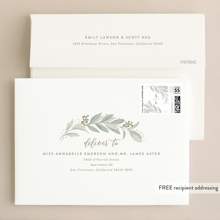 Modern wreath wedding invitations by hooray creative minted envelope design stopboris Choice Image