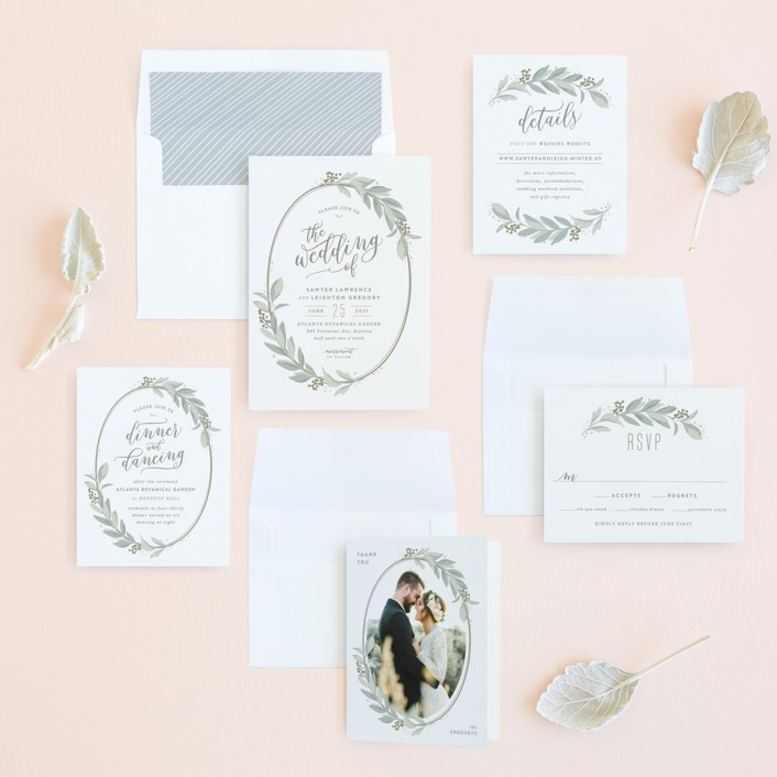 Modern wreath wedding invitations by hooray creative minted invitation suite stopboris Choice Image