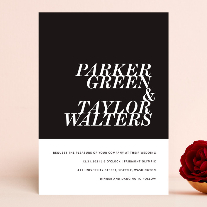 """Slanted"" - Wedding Invitations in Noir by Drango Design."