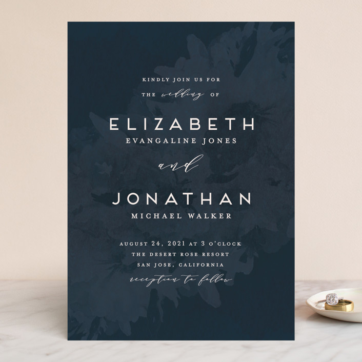 """Dash"" - Wedding Invitations in Midnight by Grace Kreinbrink."