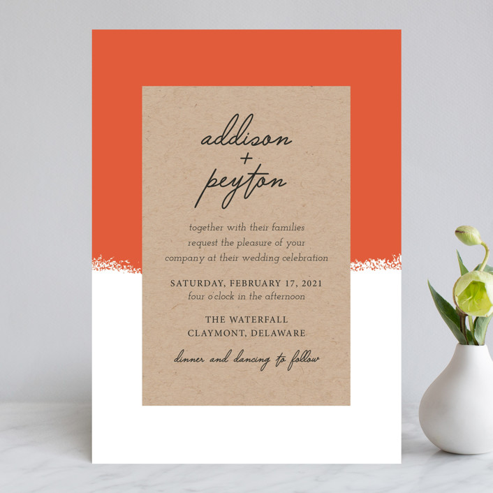 """Joyfully Ever After"" - Wedding Invitations in Tangerine by Faiths Designs."
